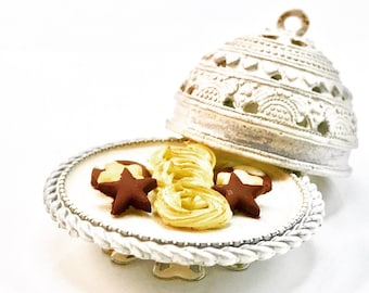 Butter and Chocolate cookies presented on an exotic stand - 1/12 scale miniature
