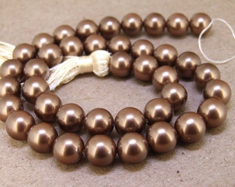 "10mm High Luster Coffee  South Seashell Pearl beads Round  Shell Pearl Full One Strand 15.5"" in length 39beads Per Strand LB1013"
