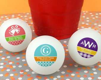 Personalized Ping Pong Balls, Bachelor Party Favors, Bachelorette Party Favors - Set of 24