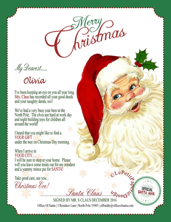 letter about santa claus items similar to letter from santa claus editable 9900