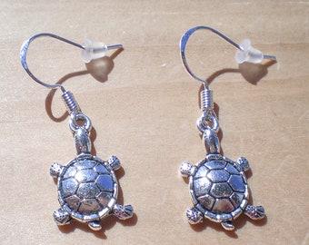 Turtle Earrings, Animal Earrings, Beach Earrings, Charm Earrings, Jewelry Findings