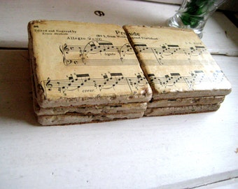 Classical Music Coasters from re purposed tiles, vintage Classical sheet music, set of six