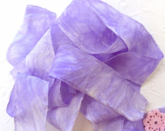Purple Silk Ribbon - Raw Edged Ribbon - Gift Wrapping - Nuno Felting