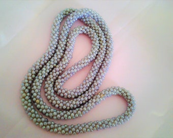 Long Iridescent Pink Purple Blue Twisted Faux Pearl Beaded Necklace