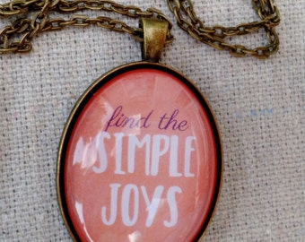 Find the Simple Joys Coral watercolor Glass Dome Pendant Necklace - Choose Joy Necklace - Gift for Her - Chewbacca Mamma Inspired Necklace