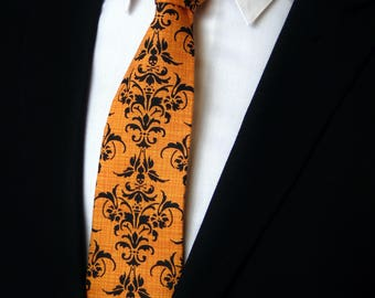 Halloween Tie – Mens Necktie with Small Black Skull Tie Motif, Makes a Great Halloween Neck Tie Also Available as a Skinny Tie.