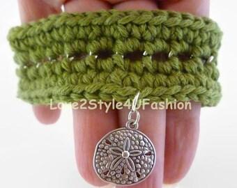 Greenery Bracelet, Kabbalah Bracelet, Army Mom Bracelet, Woven Bracelets, Wide Crochet Cuff Bracelet, Gypsy Cuff Bracelet, Cuff Bracelet