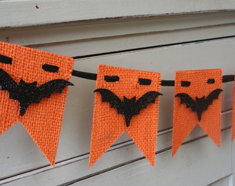 Burlap Halloween Banner - Bat Banner - Halloween Decor - Orange and Black - Bats