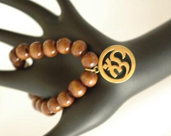 Stretch Bracelet, Wooden Bracelet, Ohm Bracelet, Gift for her, Yoga Bracelet, Boho Bracelet