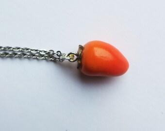 Chontaduro Columbian Fruit Necklace - fruit jewelry, fruit necklace, chontaduro necklace, tropical fruit necklace, food jewelry