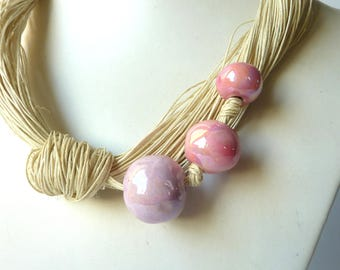 Linen Necklace with rosse Ceramic Beads.Handmade  Necklaces Nautural  Beads Necklace
