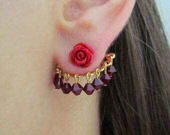 Red Ear Jacket Earring, Gold Ear Crawler, Red Crystal Earrings, Flower dangle earrings, Trending earrings for Summer