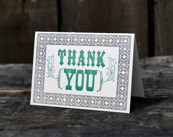Thank You Card / Set of 8 / Letterpress Folded Note Cards / 2-color Hand Set Vintage Style
