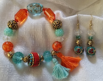 Teal and Orange Sunset Bracelet and Earring Set