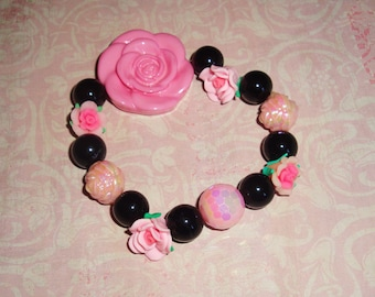 Romantic Rose Pink and Black Beaded Bracelet