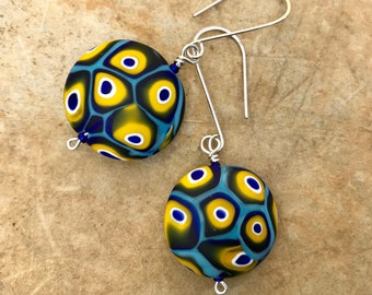Murano glass beads in turquoise , yellow, cobalt and black on sterling silver earrings