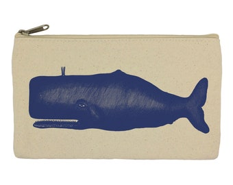 Pencil case/ stationary/ blue whale/ nautical/ pencil pouch/ canvas bag/ pencil holder/ make up bag