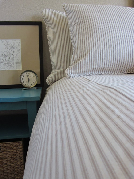 Ticking Stripe Duvet Cover 5 Colors Made To Order