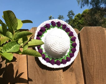 18 Inch Doll Clothes: Crocheted Sunhat with Purple Tulip Brim ,Handmade to fit the American Girl and Other 18 Inch Dolls