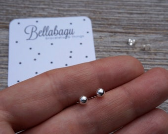 Sterling SIlver Ball Earrings - Silver balls - sterling silver tiny ball stud earrings - ball studs - simple - studs - IttyBitty BellaBalls