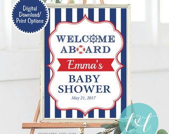 Nautical Baby Shower  Poster Welcome Aboard