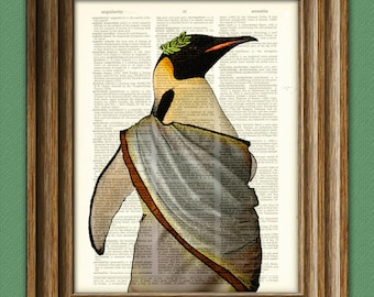 ROMAN EMPEROR PENGUIN with laurel leaf crown and toga illustration beautifully upcycled dictionary page book art print
