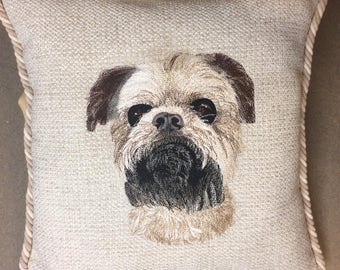 Made to Order, Custom Embroidered Pet Portrait Pillows