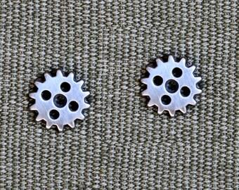 Silver Cog/Gear post Earrings