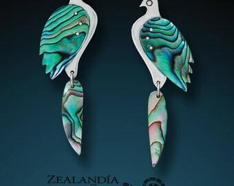 Paua Shell and Silver Bird Earrings