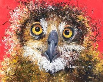 OWL art, nursery painting, animal painting, owl decor, nursery wall art, kids room art, bird painting, Etsy art, Jan Matson