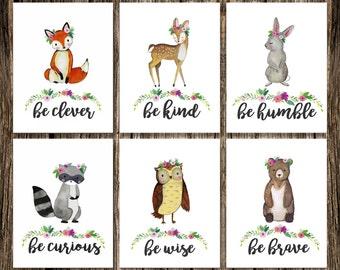 Woodland Animal GIRL Nursery Decor   DIGITAL DOWNLOAD   Fox Deer Raccoon Owl Bear Rabbit   Be Brave Be Kind Be Curious Be Clever   Wall Art