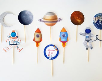 10 cupcakes toppers (cupcake toppers) - space theme - cake topper-rocket-astonaute-planete-terre-lune-mercure-saturne