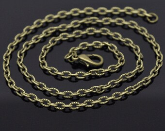 "12 pcs. Antique Bronze Textured Chain Link Necklaces 24"" - (4.5 x 3mm Links) - Lobster Clasps - Claw Clasps"