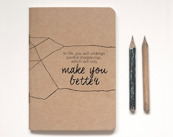 Illustrated Kraft Notebook Lined or Blank plus vintage-inspired pencil, 'PENCIL FOR LIFE' A6