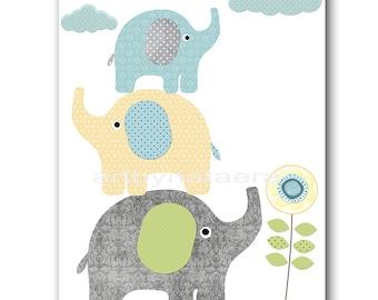 Kids Wall Art Elephant Nursery Baby Nursery Art Decor Baby Boy Nursery Kids Art Baby Room Decor Nursery Print Boy Print Blue Grey
