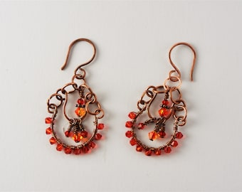 Chandelier earrings with Swarovski crystals and antique copper