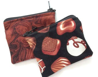 Chocolate purse, cosmetic bag, chocolate coin purse, earbud holder, danish style pouch, credit card purse, key bag, small bag, womens gift