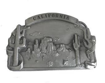 Vintage California Desert Belt buckle - Southern Cactus - Palm Springs Joshua Tree Los Angeles - Fathers Day Gift Idea