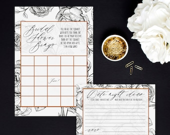 Wedding Shower Games, Black and White Flowers, Bridal Bingo Game, Advice for the couple cards, Printed Bridal Shower Activities, Fun Games