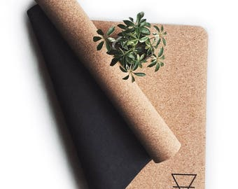 eco cork yoga mat - 4mm - natural tree rubber bottom - great for hot yoga, meditation, pilates - sweat more for extra grip