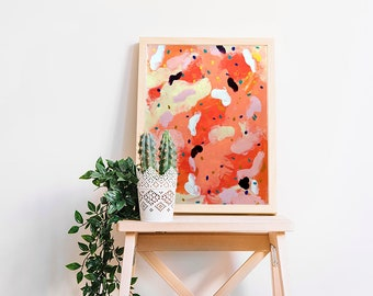 Abstract painting on paper Abstract art Watercolor painting Modern art Original painting Abstract wall art Wall hanging Home decor orange