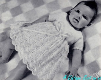 Baby 4 ply Lace Dress 0 - 6 months -  PDF of Vintage Knitting Patterns