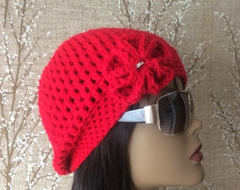 Red Crocheted Hat Newsboy /Style Hat - Women's Hat - Accessories - Crochet Cap - Funky /Hat