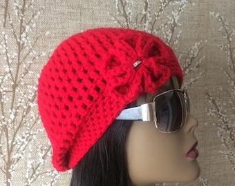 Red Crocheted Hat Newsboy /Style Hat - Women's Hat - Accessories - Crochet Cap - Funky /Hat