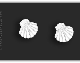 Shell studs earrings silver white Camino de Santiago