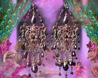 Antique Brass Gothic Victorian Crystal Chandelier Earrings, Black Glass Filigree Jewelry, Light Rose Pink, Amethyst Purple, Clip-On Option