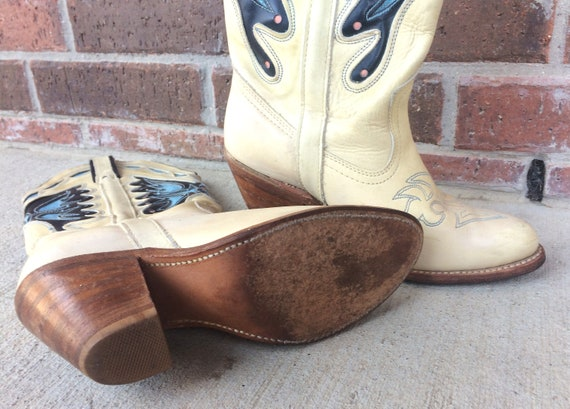 rockabilly BOOTS Capezio rare BUTTERFLY tan 6 Cowboy Miss beige 70s BLUE inlay coral unique leather western vtg WB8XxvUqwW