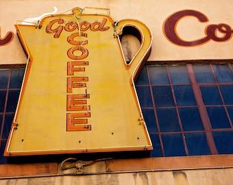 Good Coffee Neon Sign Photo | Hansen's Coffee Oakland | Retro Kitchen Decor | Coffee Pot Sign | Neon Sign Print | Neon Art | Oakland Photo