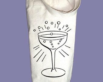 Vintage Champagne Glass Illustration Canvas Alcohol/Wine Gift Bag