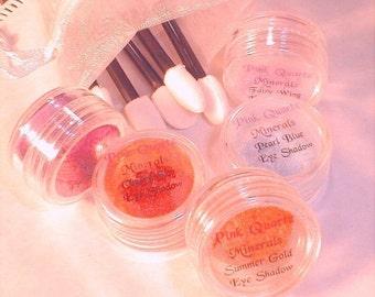 Lidschatten verschiedene Kit Pick eigene Farbtöne Rosenquarz Mineralien Make-up